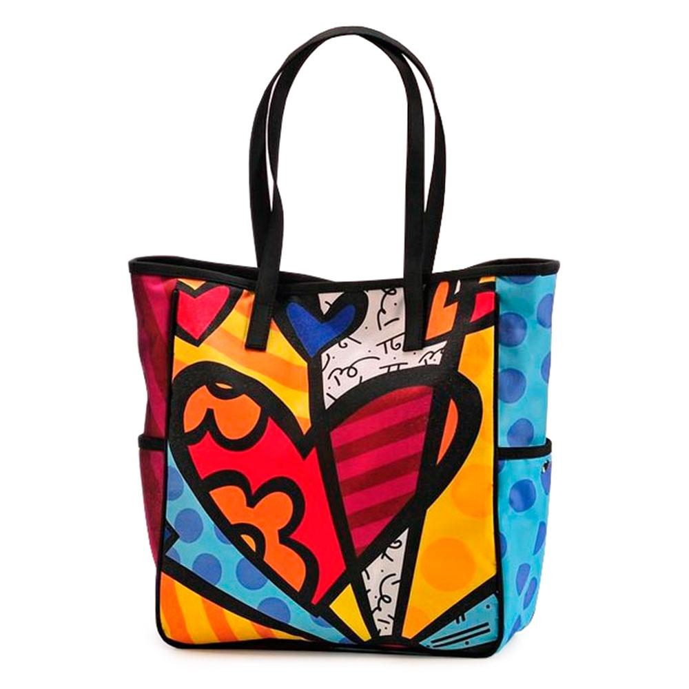 Bolsa com Compartimentos Laterais New Day - Romero Britto - em Poliester - 44x30 cm