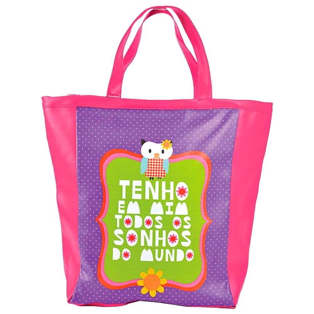 Bolsa Book Bag Coruja - Carpe Diem - Rosa/Roxo em Couro Sintético - 48x35 cm