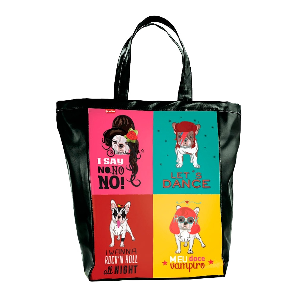 Bolsa Book Bag Monsters of Dog - Carpe Diem - Colorida em Couro Sintético - 48x35 cm