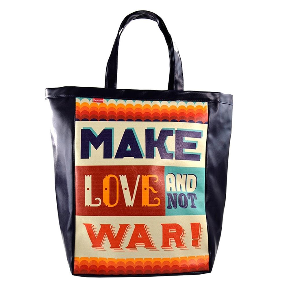 Bolsa Book Bag Make Love Azul Marinho - Carpe Diem - em Couro Sintético - 48x35 cm