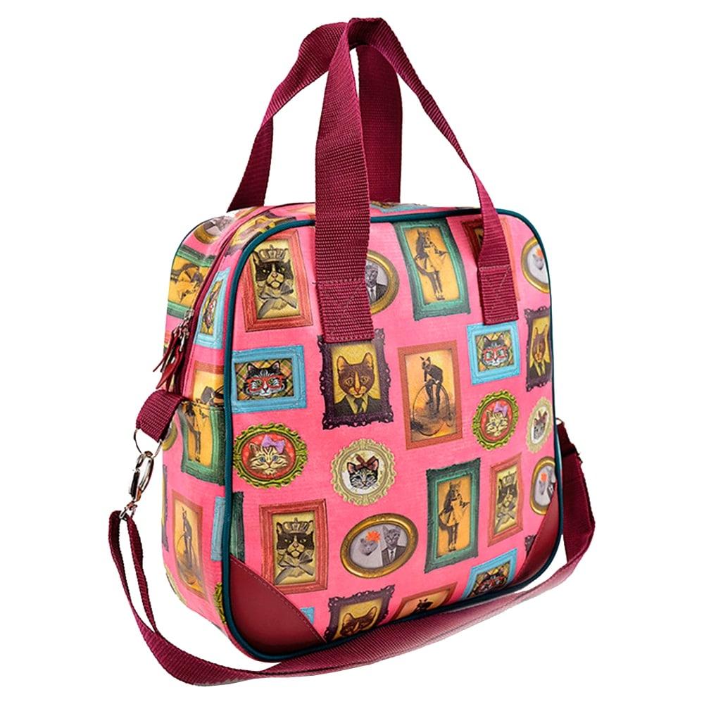 Bolsa Francesa Gatos de Família - Carpe Diem - Rosa em Couro Sintético - 34x33 cm