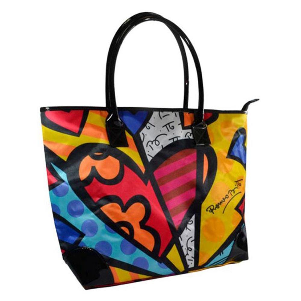 Bolsa Grande New Day - Romero Britto - em Poliester - 46x32 cm