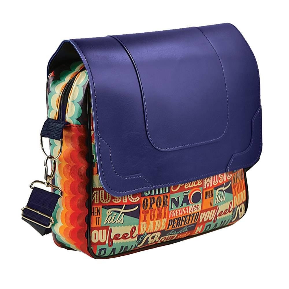 Bolsa Mensageiro Make Love - Carpe Diem - Colorido em Couro Sintético - 40x40 cm