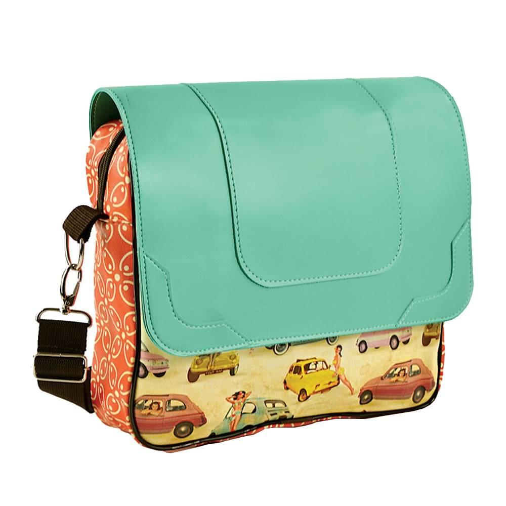 Bolsa Mensageiro Pinup 500 - Carpe Diem - Colorida em Couro Sintético - 40x40 cm