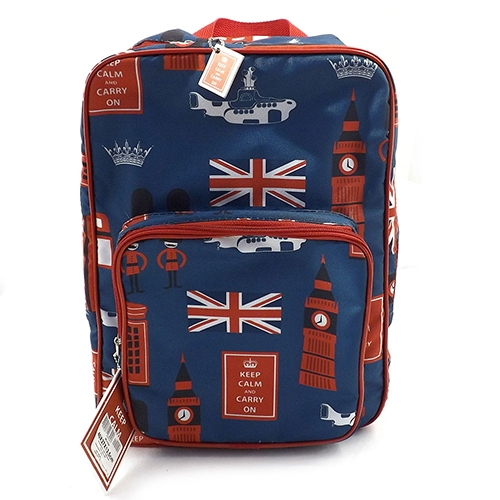 Bolsa / Mochila London Forever - Keep Calm And Carry On - Carpe Diem - Azul em Nylon - 29x41 cm