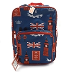 Mochila London Forever Keep Calm And Carry On Azul em Nylon