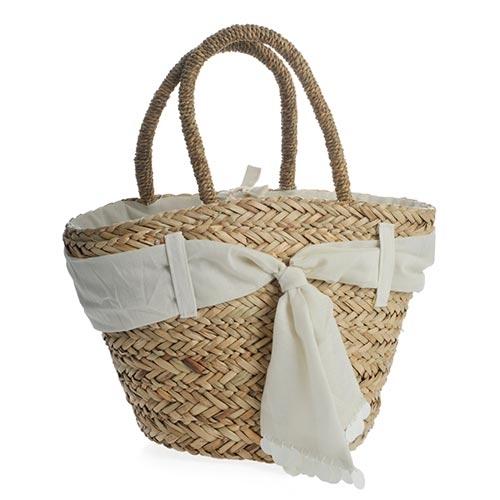 Bolsa Off White com Acabamento de Tecido - com Alças - em Fibra - 25x20 cm