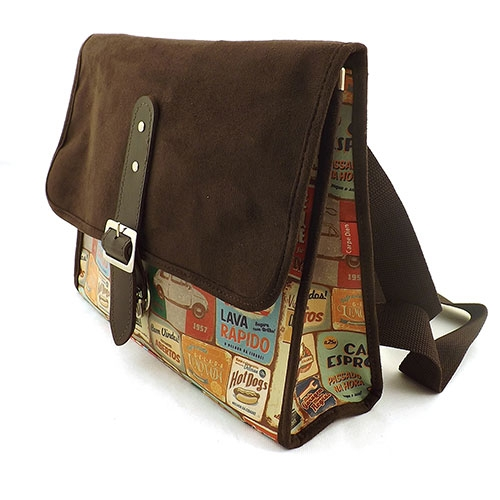 Bolsa Old School Quinhentos Leve com Você - Carpe Diem - Marrom em Couro e Camurça - 33x25 cm