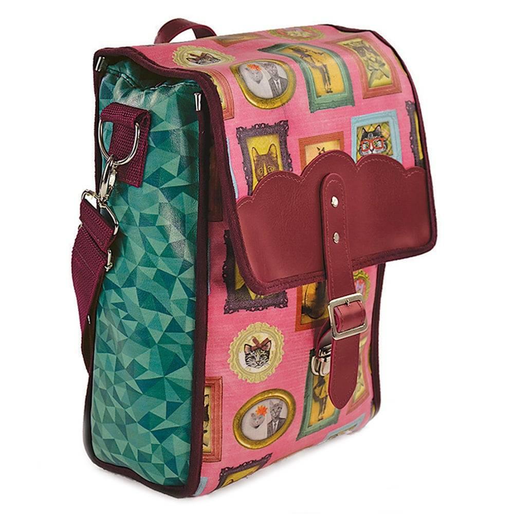 Bolsa para Picnic Gatos de Família - Carpe Diem - Colorida em Couro Sintético - 36x24 cm