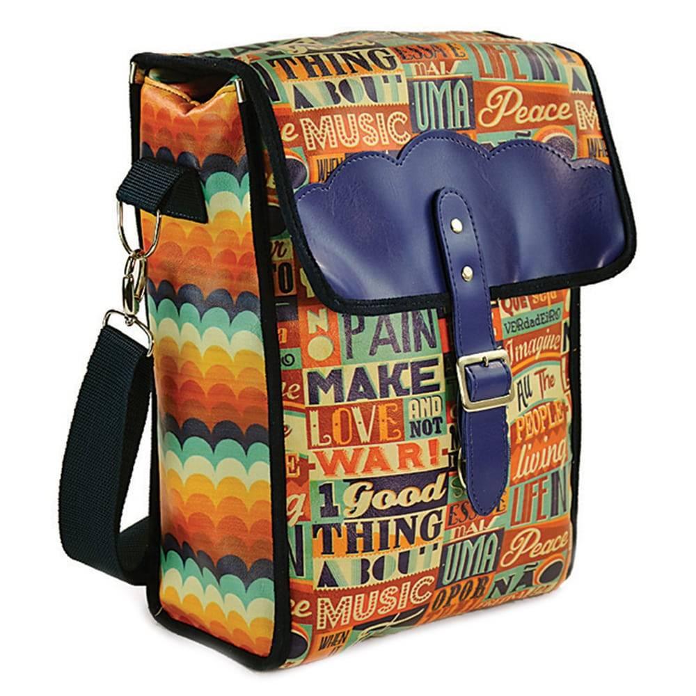 Bolsa para Picnic Make Love - Carpe Diem - Colorida em Couro Sintético - 36x24 cm