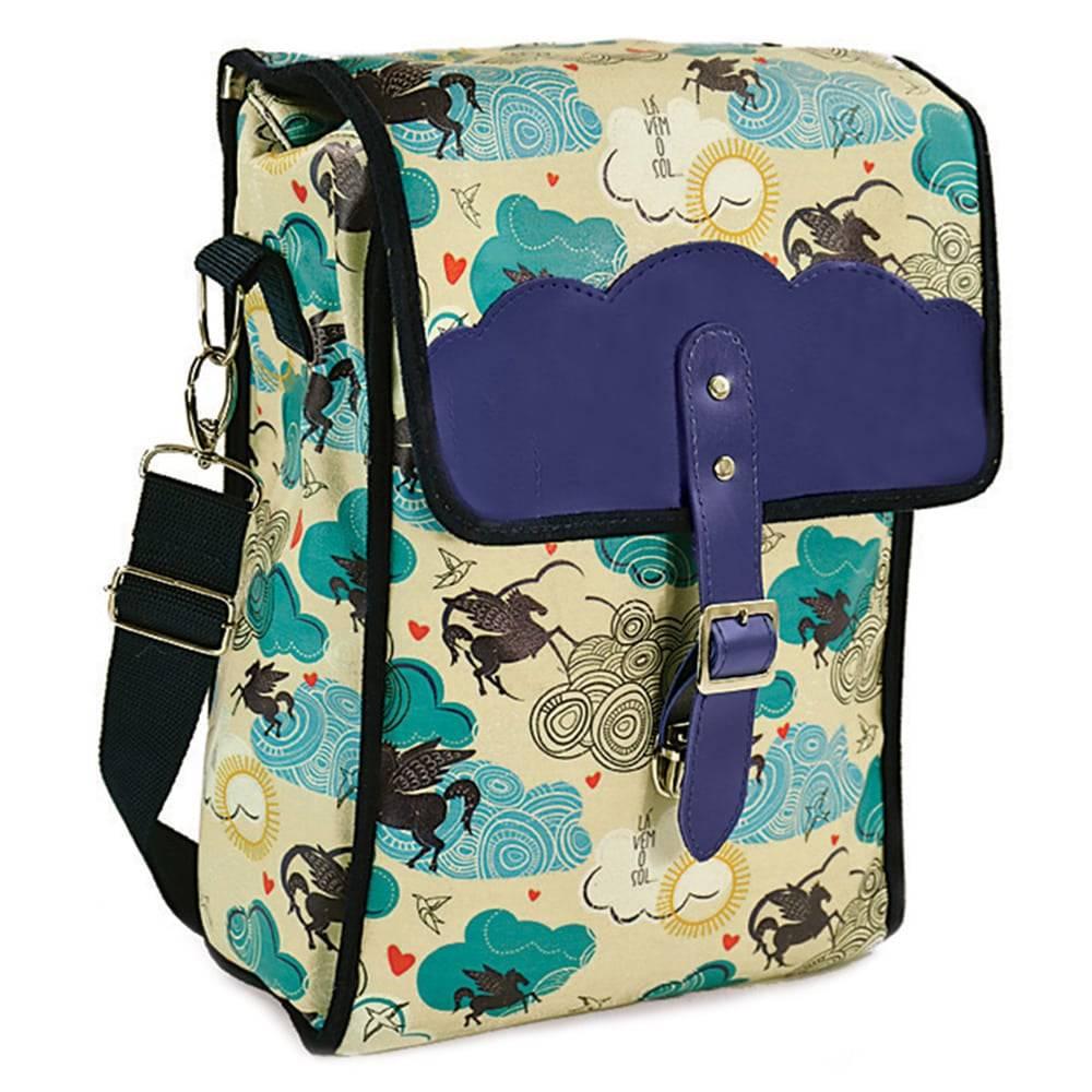 Bolsa para Picnic Sonho - Carpe Diem - Bege/Azul em Couro Sintético - 36x24 cm
