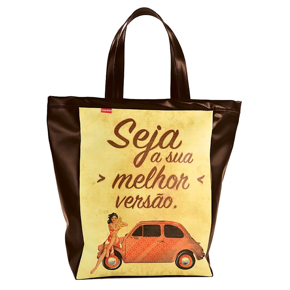 Bolsa Book Bag Pinup 500 - Carpe Diem - Marrom/Amarelo em Couro Sintético - 48x35 cm