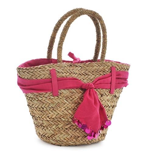 Bolsa Pink com Acabamento de Tecido - com Alças - em Fibra - 25x20 cm