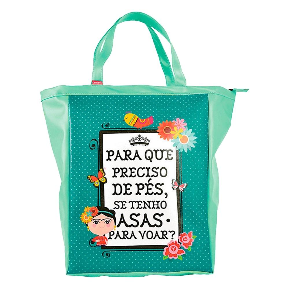 Bolsa Book Bag Frida - Carpe Diem - Verde em Couro Sintético - 48x35 cm