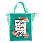 Bolsa Book Bag Frida - Carpe Diem - Verde em Couro Sintético