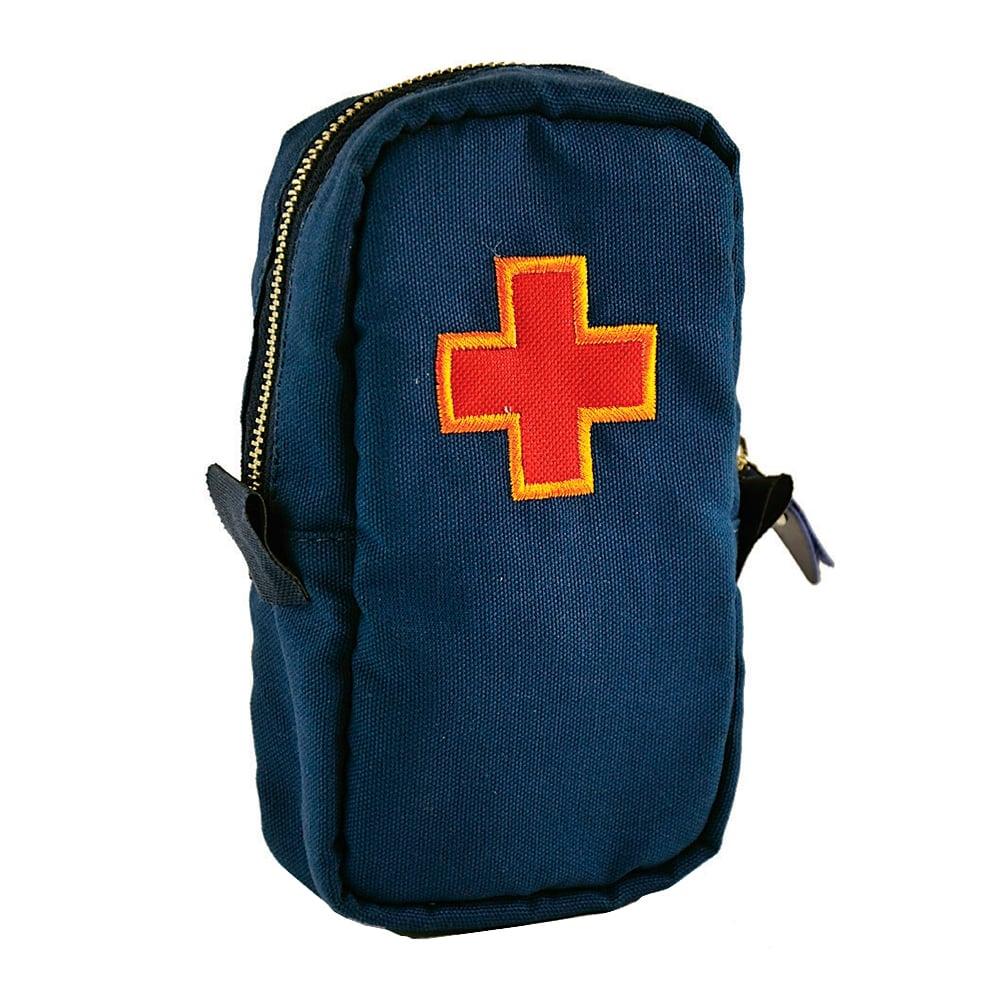 Necessaire Primeiros Socorros - Carpe Diem - Azul Bordada em Lona - 20x11,5 cm