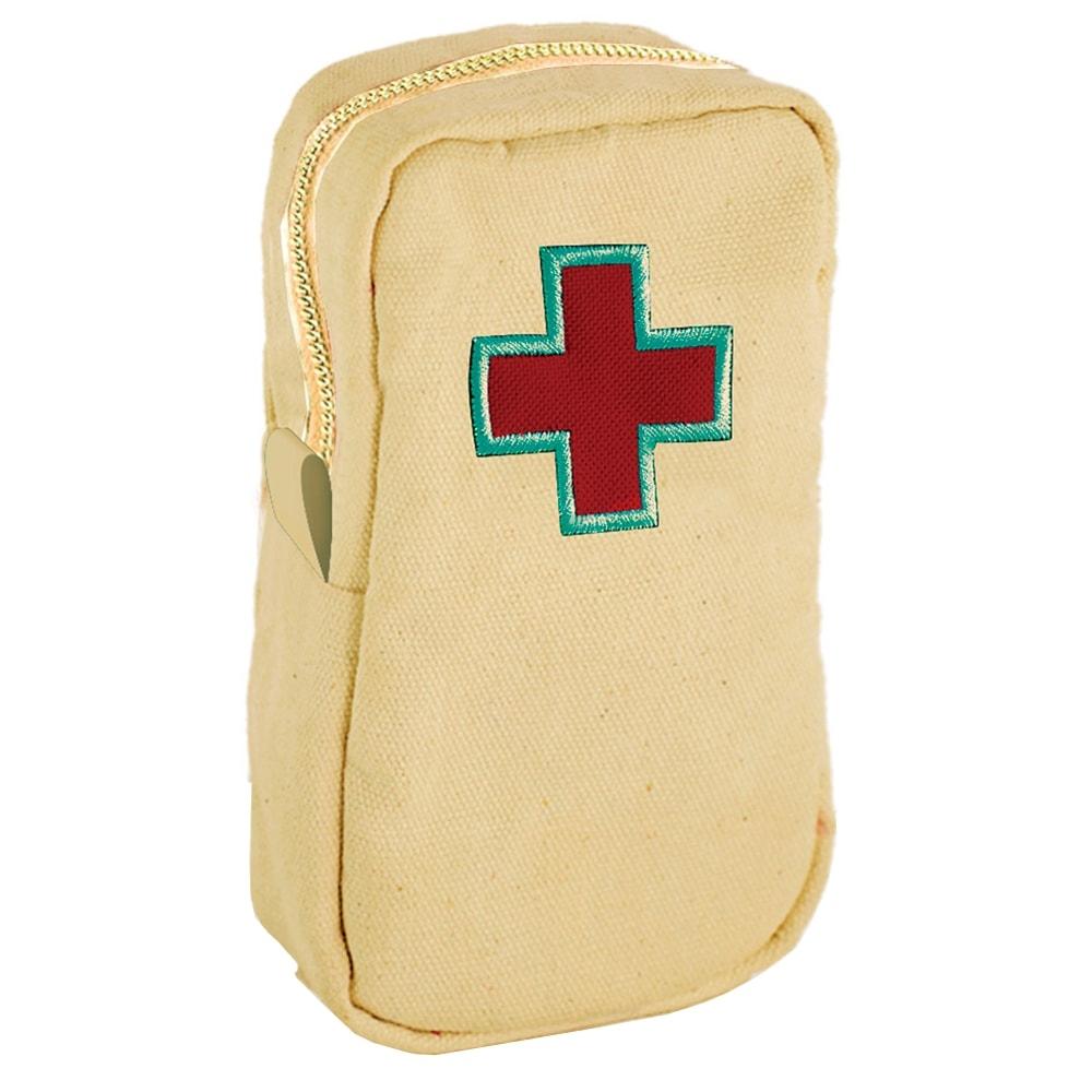Necessaire Primeiros Socorros - Carpe Diem - Bege/Vermelho Bordada em Lona - 20x11,5 cm