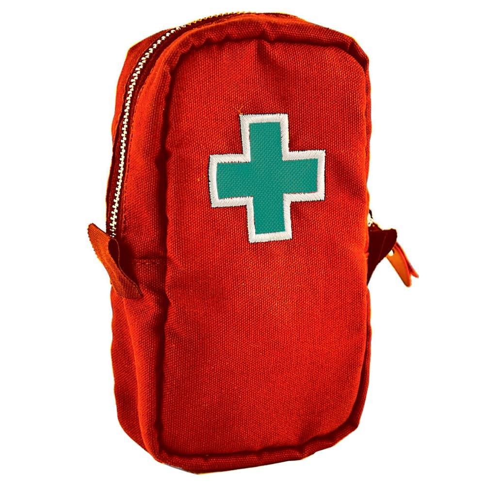 Necessaire Primeiros Socorros - Carpe Diem - Vermelha Bordada em Lona - 20x11,5 cm