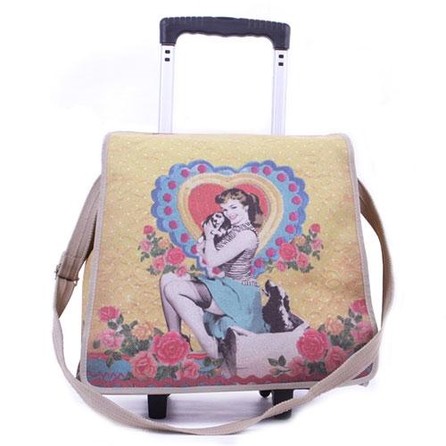 Bolsa Pin Up Amarela - com Alça e Rodinhas - em Tecido - 42x42 cm