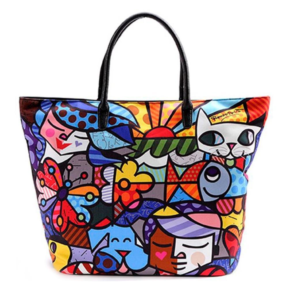 Bolsa Romero Britto - com Alça - em Poliester - 51x37 cm