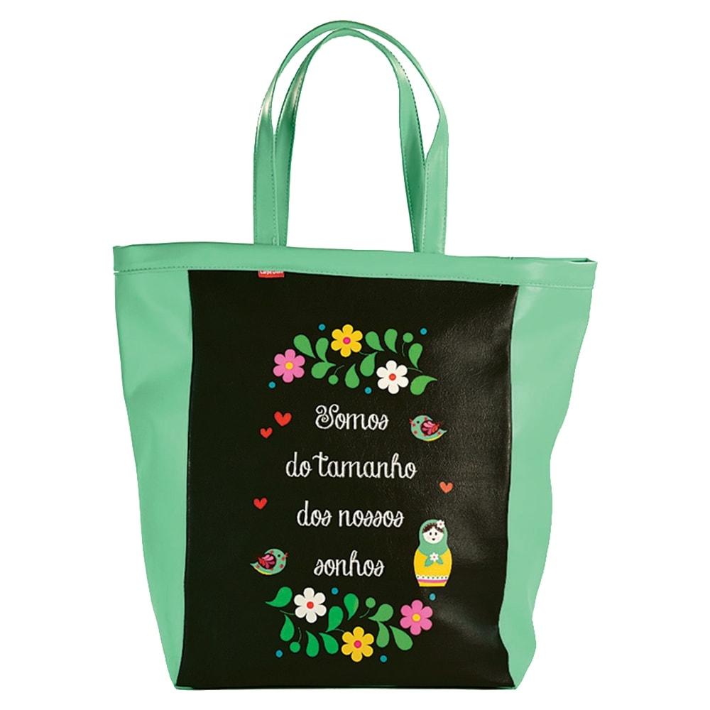 Bolsa Book Bag Matrioska Verde e Preto - Carpe Diem - em Couro Sintético - 48x35 cm