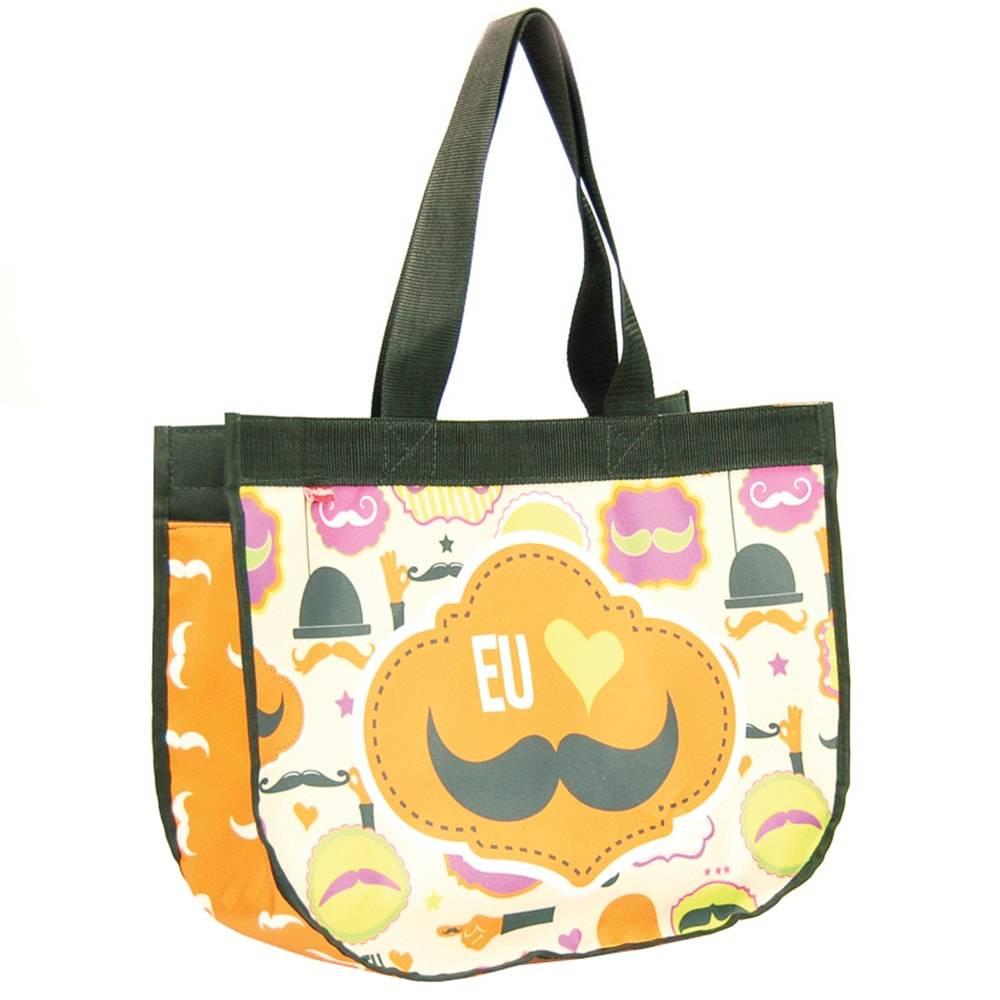 Bolsa Super Bag Mustache - Carpe Diem - em Nylon Resinado - 45x33 cm