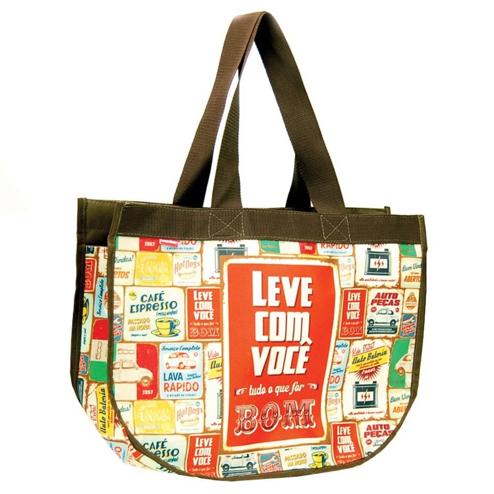 Bolsa Super Bag Quinhentos - Carpe Diem - em Nylon Resinado - 45x33 cm
