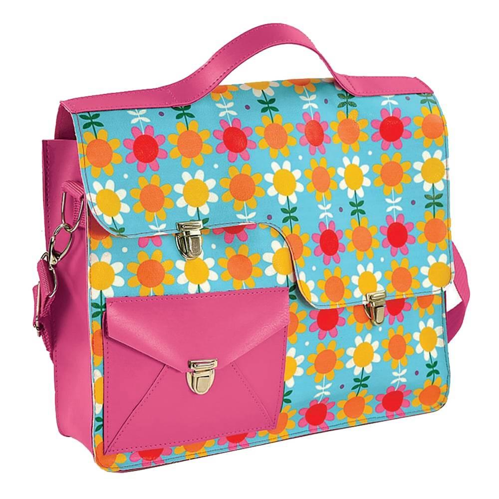 Bolsa Work Bag Coruja - Carpe Diem - Rosa/Azul em Couro Sintético - 35,5x27 cm