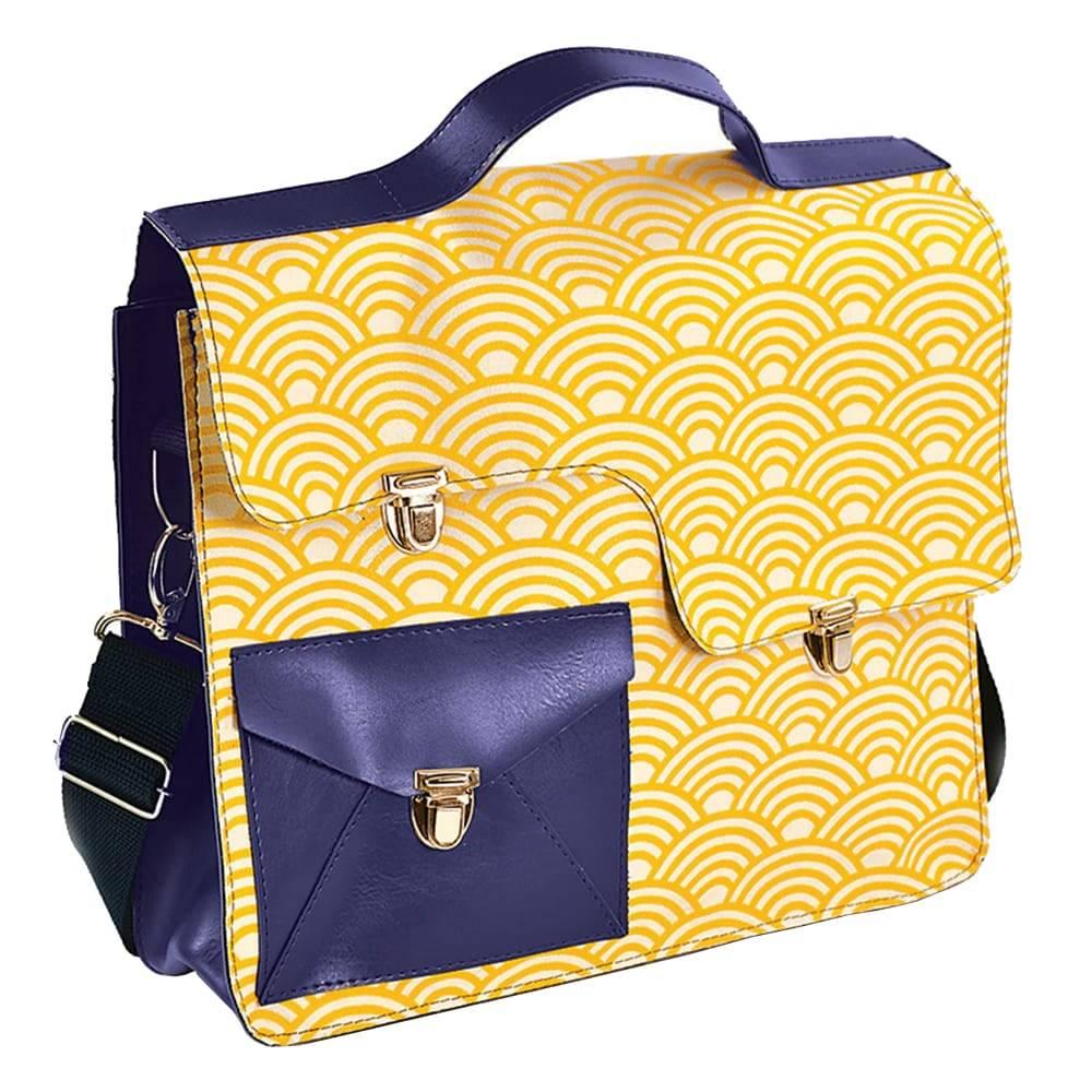 Bolsa Work Bag Sonho - Carpe Diem - Amarela/Azul em Couro Sintético - 35,5x27 cm
