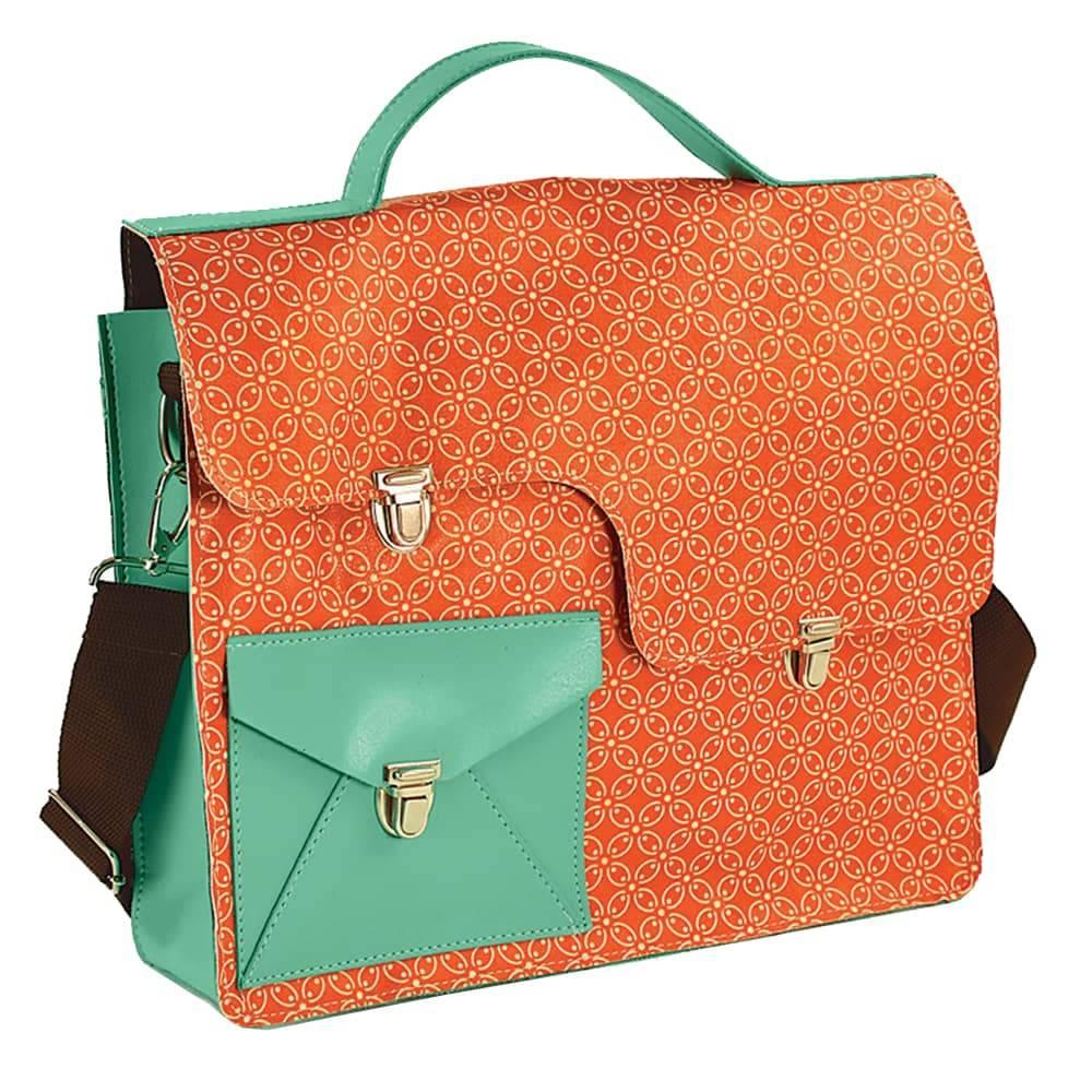 Bolsa Work Bag Pinup 500 - Carpe Diem - Laranja/Verde em Couro Sintético - 35,5x27 cm