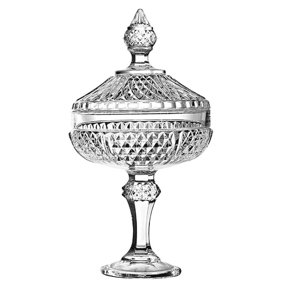 Bomboniere Diamond Pedestal Transparente em Vidro - Pasabahce - 30,5x16,7 cm