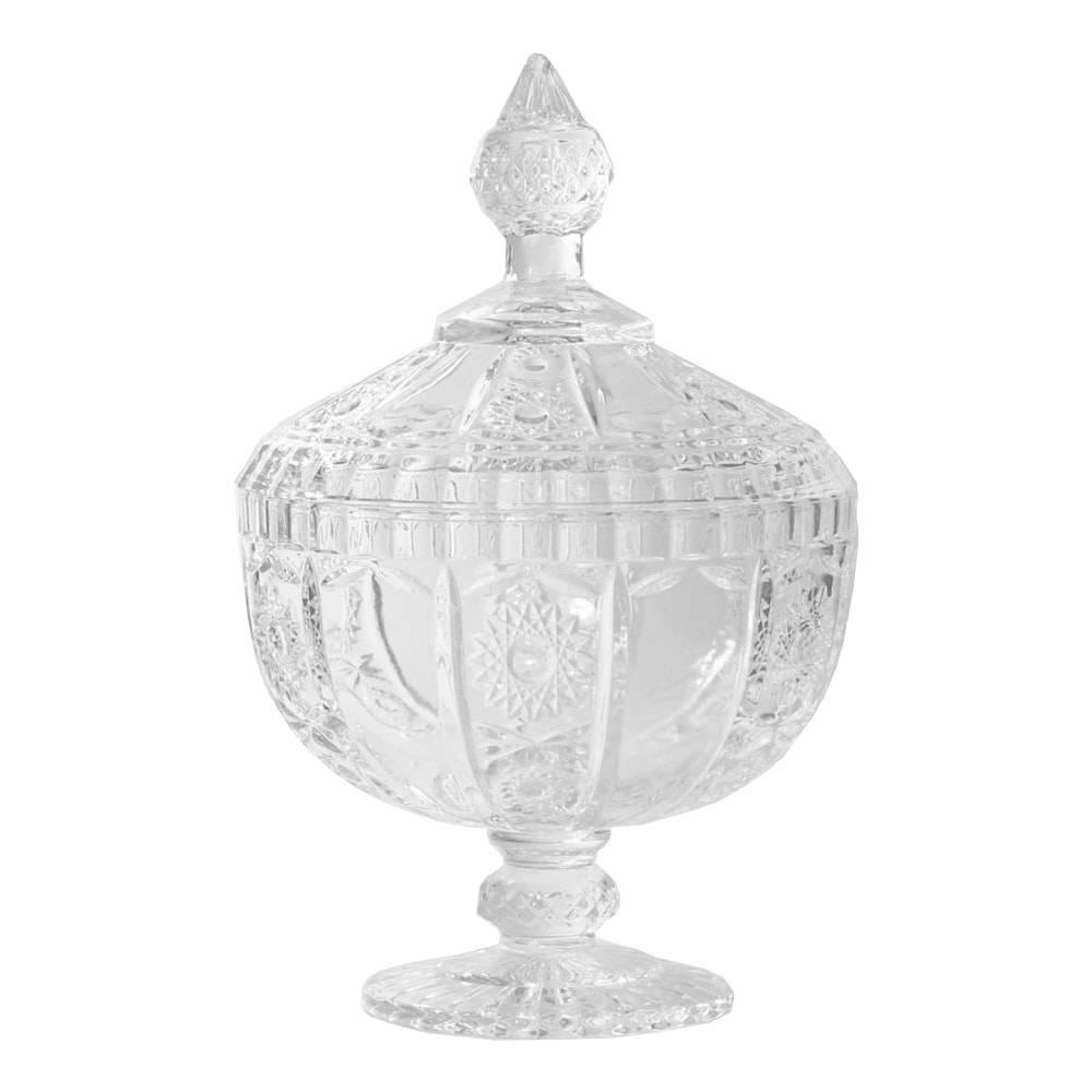 Bomboniere Madigan Pequeno Transparente em Vidro - 24x15,5 cm