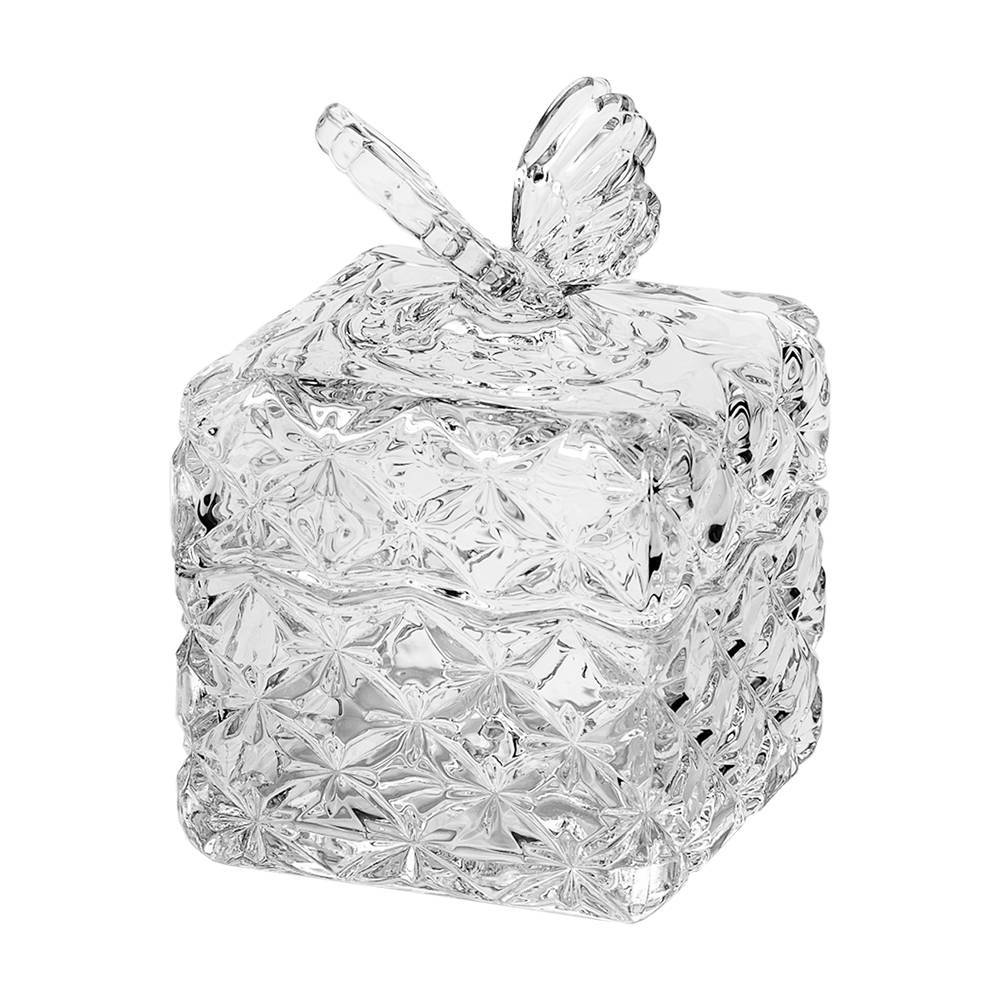 Bomboniere com Tampa Borboleta em Cristal - Wolff - 14,2x10,2 cm