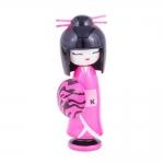 Boneca Decorativa Kokeshi - Gueixa Diva - Rosa/Preto em Madeira - 16x6 cm