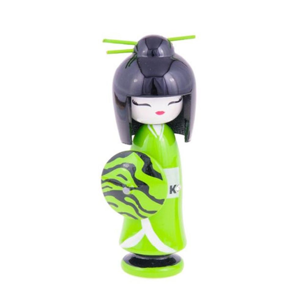 Boneca Decorativa Kokeshi - Gueixa Musa - Verde/Preto em Madeira - 16x6 cm
