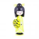 Boneca Decorativa Kokeshi - Gueixa Princess - Amarelo/Preto em Madeira - 16x6 cm