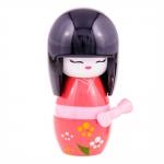 Boneca Decorativa Kokeshi Nail Audaciosa Vermelho em Madeira - 13x7 cm