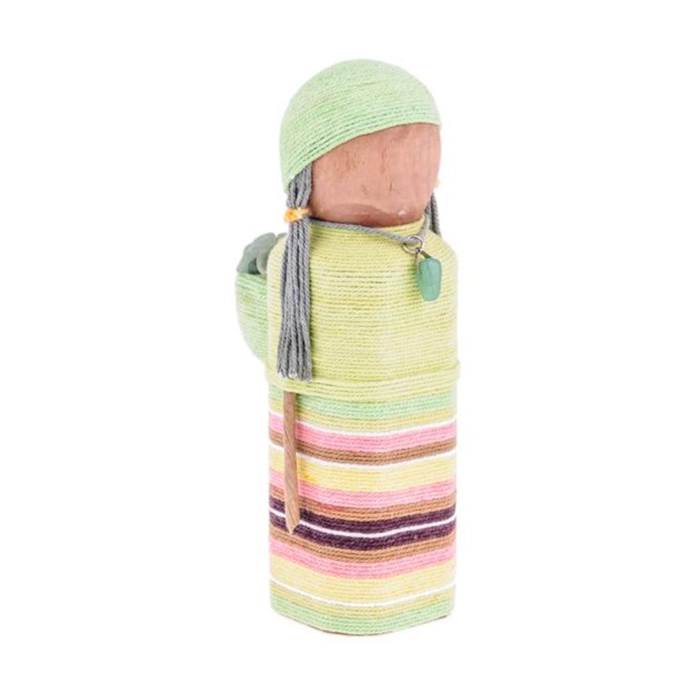Boneca Decorativa Las Açucenas - Quartzo - Verde em Madeira/Tecido - 16x7 cm