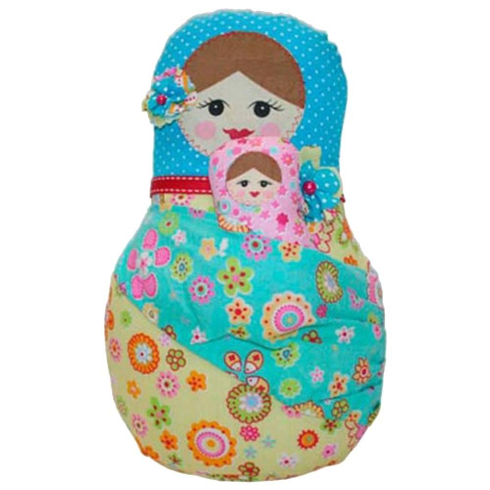Boneca Decorativa Matrioshka com Bebe Azul em Tecido - 28x16 cm