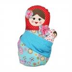 Boneca Decorativa Matrioshka com Bebê Colorida em Tecido - 28x16 cm