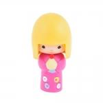 Boneca Decorativa Momiji Mania - Candy - Rosa/Amarelo em Resina - 8x6 cm
