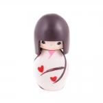 Boneca Decorativa Momiji Mania - Fabi - Preto/Branco em Resina - 8x5 cm