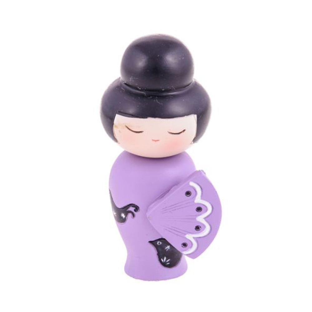 Boneca Decorativa Momiji Mania - Fifi - Lilás/Preto em Resina - 9x4 cm