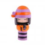 Boneca Decorativa Momiji Mania - Floki - Laranja/Lilás em Resina - 8x5 cm