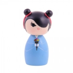 Boneca Decorativa Momiji Mania - Ivy - Azul/Preto em Resina - 8x4 cm
