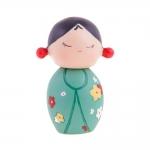 Boneca Decorativa Momiji Mania - Jenny - Verde Floral em Resina - 8x6 cm