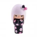 Boneca Decorativa Momiji Mania - Lua - Preto/Rosa em Resina - 8x4 cm