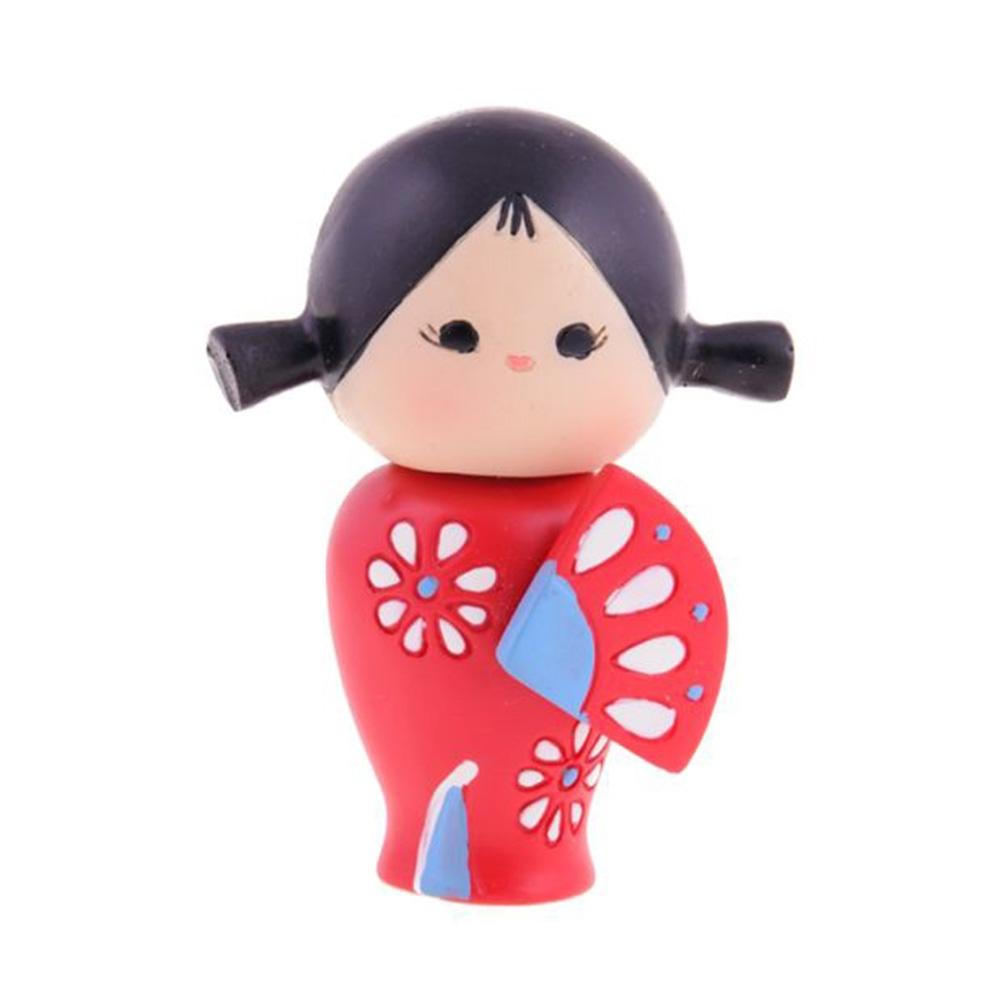 Boneca Decorativa Momiji Mania - Patty - Vermelho/Preto em Resina - 8x6 cm