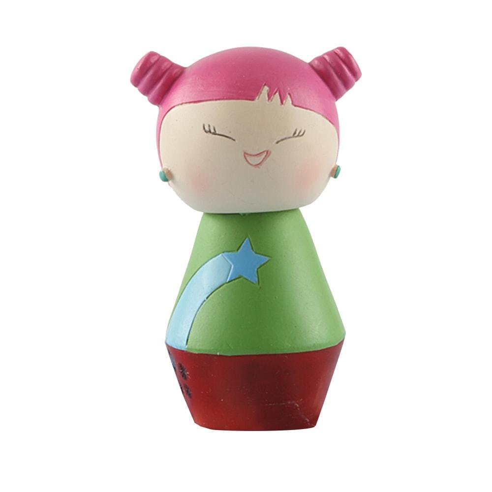 Boneca Decorativa Momiji Mania - Tina - Verde/Rosa em Resina - 8x5 cm