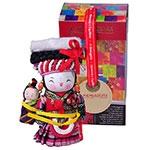 Boneca Decorativa Oriental Bai Pequeno em Tecido - 12x7 cm